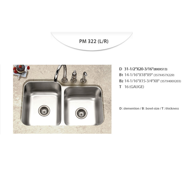 Stainless Sinks - PM322 (L/R)